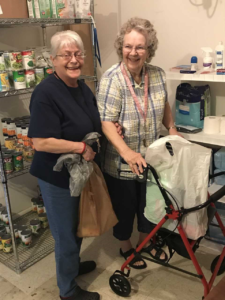 Visitors to the food pantry
